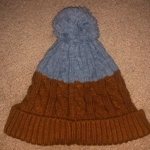 Cotton-On Chestnut Ribbed Beanie w/ Pom Pom